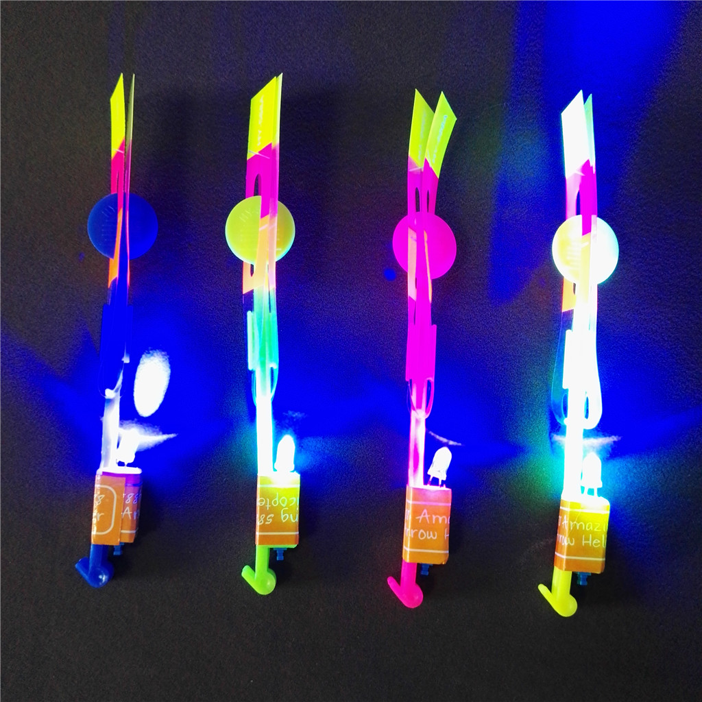 Small Blade Y Shape led flying slingshot rocket helicopter toys