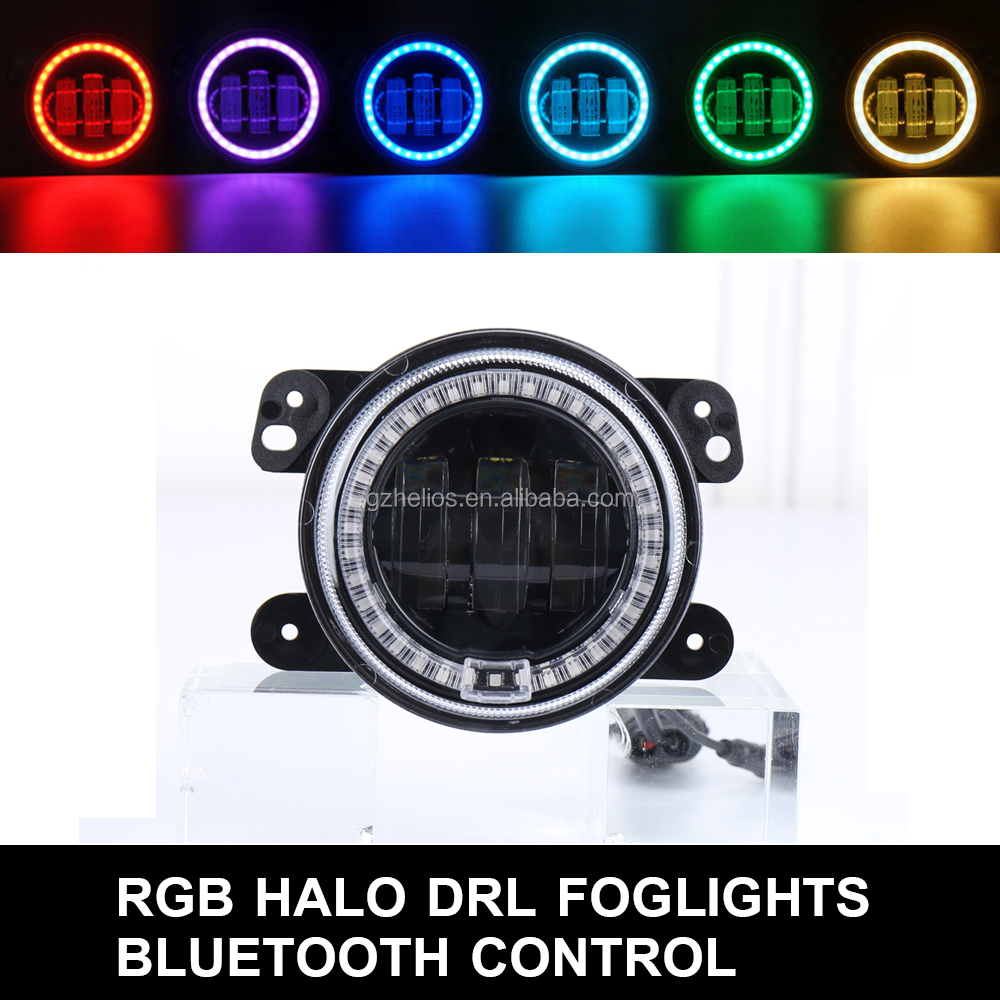 Jeep Bluetooth Control Car RGB Led Headlight Fog Light Halo Angel Ring For Jeep Wrangler RGB LED Lamp for Auto