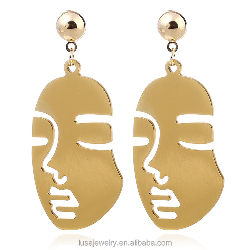 Simple Human face shaped dangle drop earrings women fashion jewelry accessories ERL091