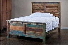 High Quality Vintage recycle wood Queen size bed