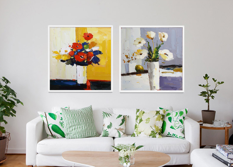 Handmade Modern Simple Abstract Flower Canvas Art Oil Painting For Living Room