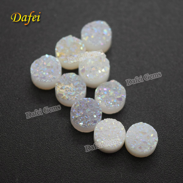 Hot Selling 6mm Round Opal White Natural Agate Druzy <strong>Stone</strong> For Jewelry