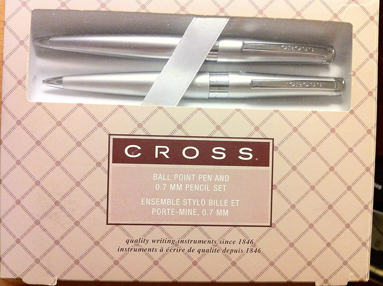 CROSS Ball Point Pen & Pencil .7mm STYLO BILLE Satin Chrome Finish