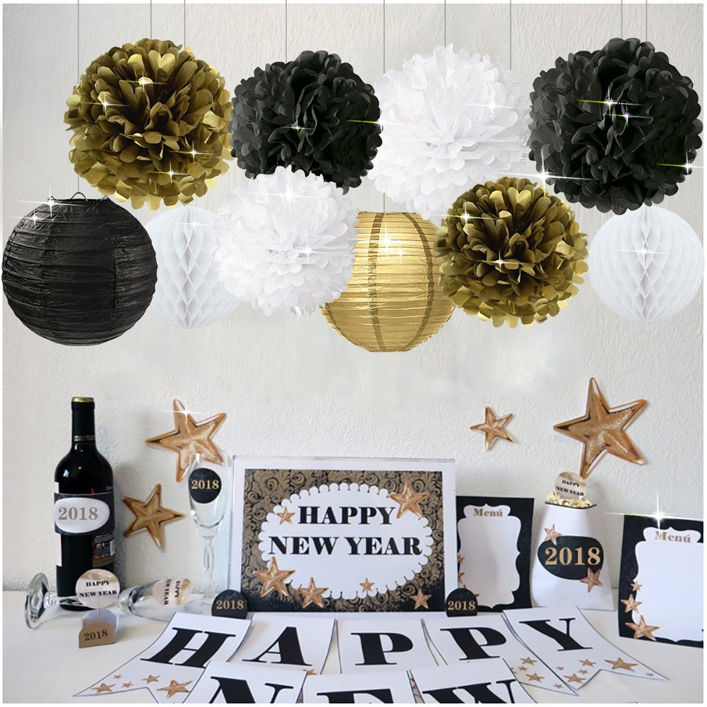 10pcs New Years Decorations Gold Black White Party Decor Kit Tissue