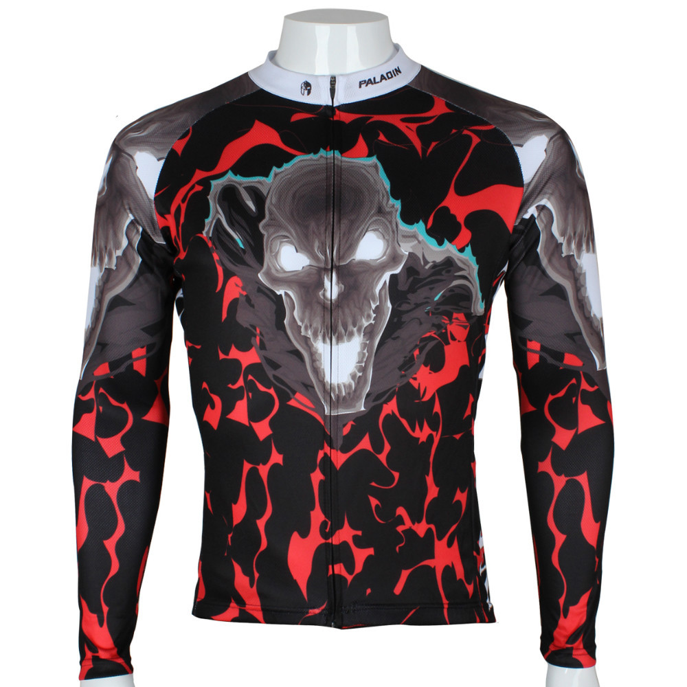 Free shipping 2015 Paladin Cycling Jersey  Spring and autumn season long sleeved men's flame skeleton riding clothes SQ-290