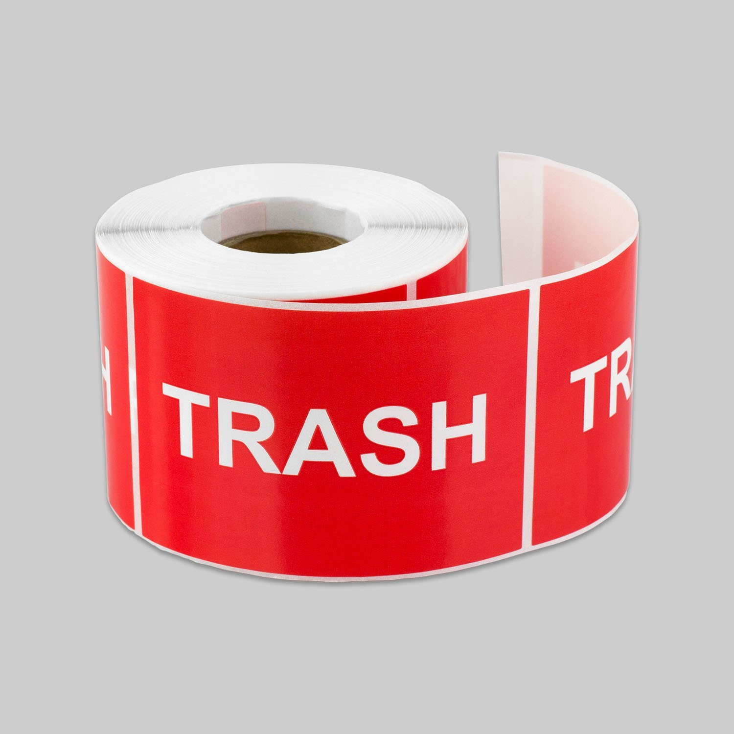 "Tuco Deals 3"" x 2"" Inch Large Red Background / White Text Disposal and Trash Labels Square Self Adhesive Stickers / Labels - ""Trash"""