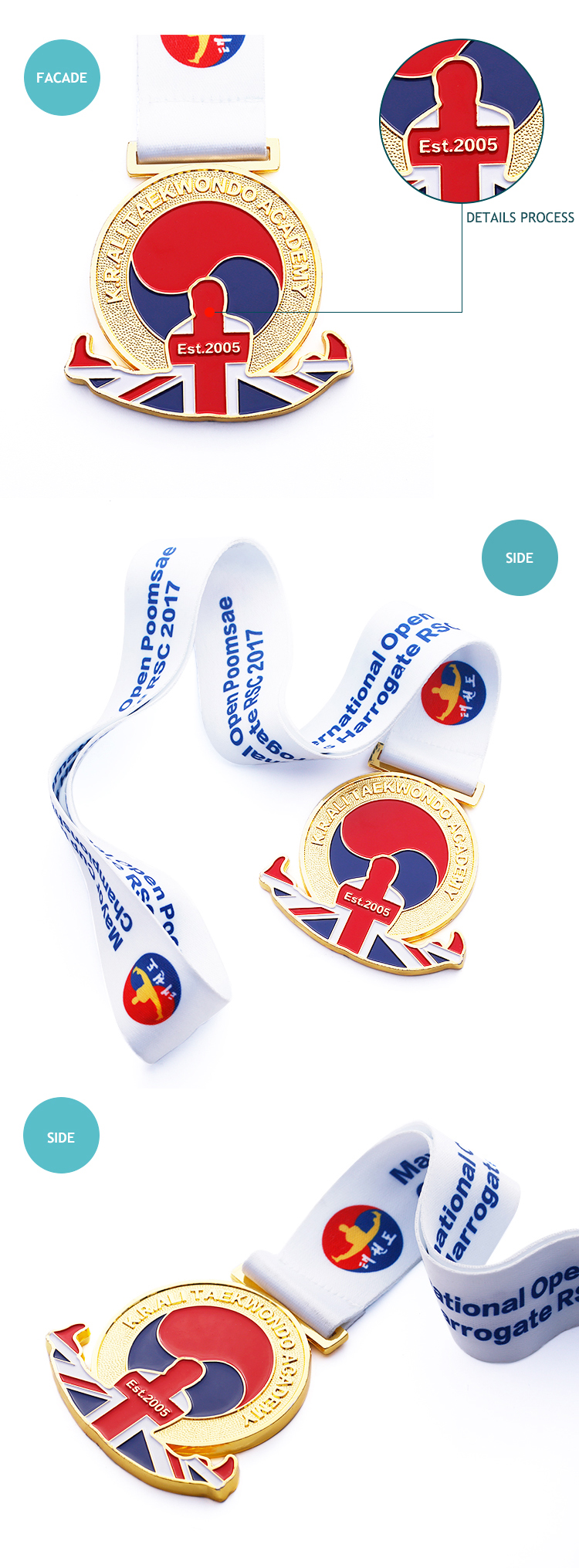 High quality custom medallion sports taekwondo medal with beautiful ribbon