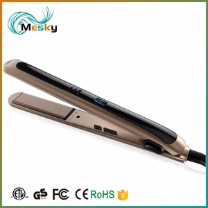 CE ROHS FCC ETL Intertek Flat Iron Rubber Oil Painting LCD Hair Straightening Iron With Magnetic Packing