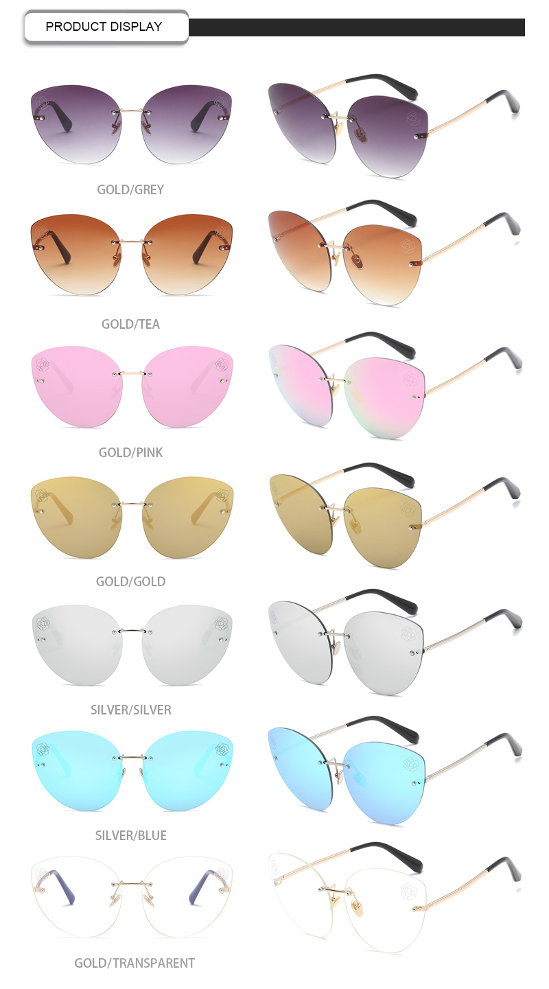 Retro Rimless Cat 3 UV400 Flower Lens Brand Designer Women Sunglasses