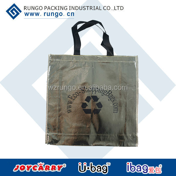Gold metallic designer graphics laminated non-woven shopper bag