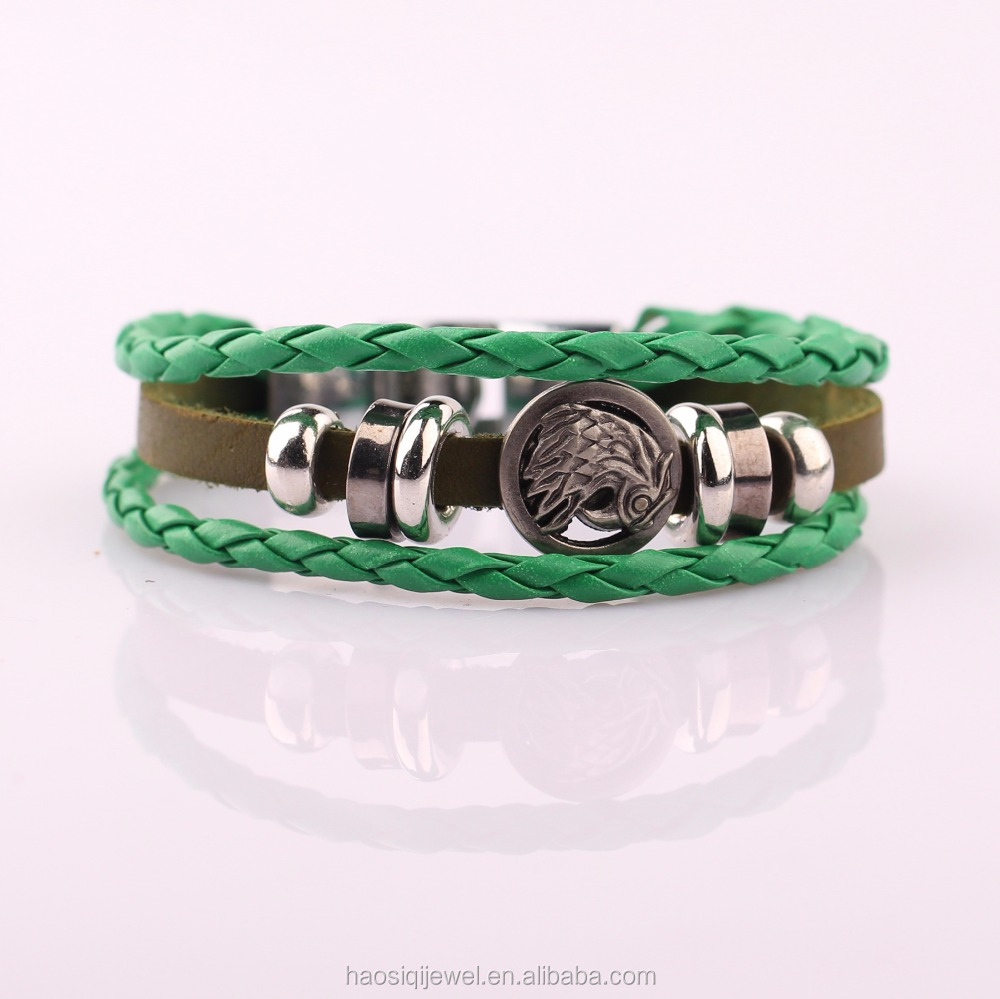 hematite natural gemstone alloy fashion jewelry teen leather bracelet