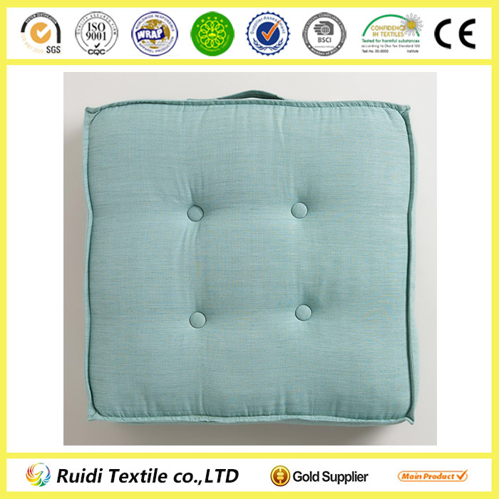 Seat Cushion Chair Pad Green Khadi Tufted Floor Cushion Seating Sofa