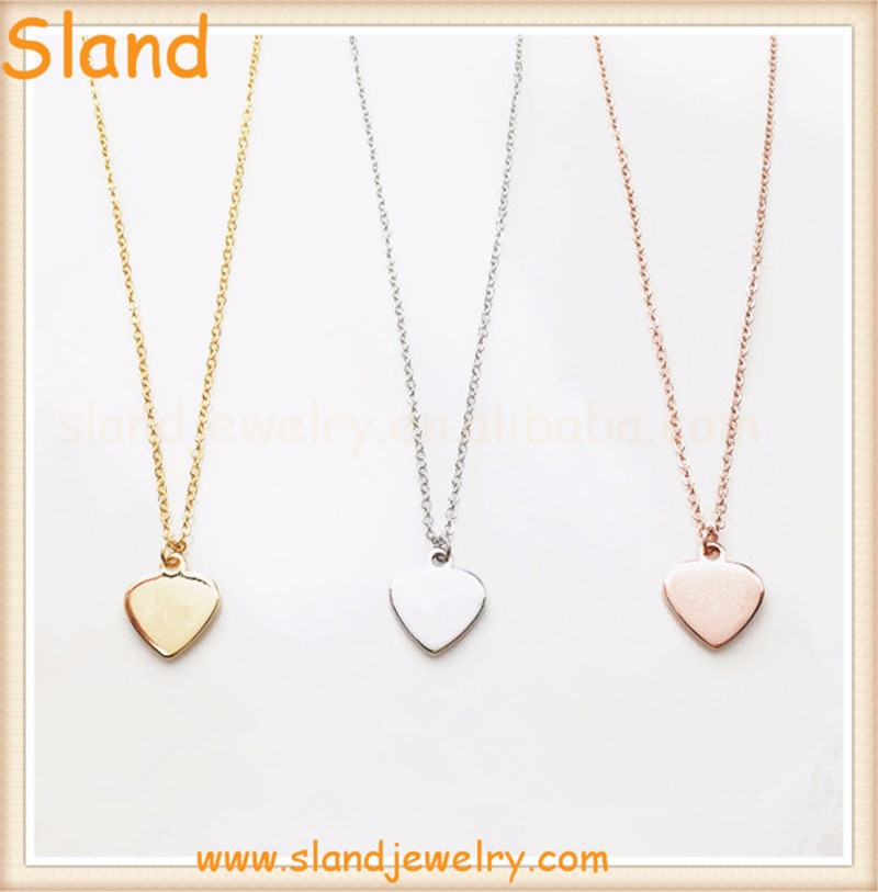 Minimalist blank peach shape plate necklace 316l Stainless Steel Guitar Pick Necklace - silver/gold/rose gold Jewelry wholesale