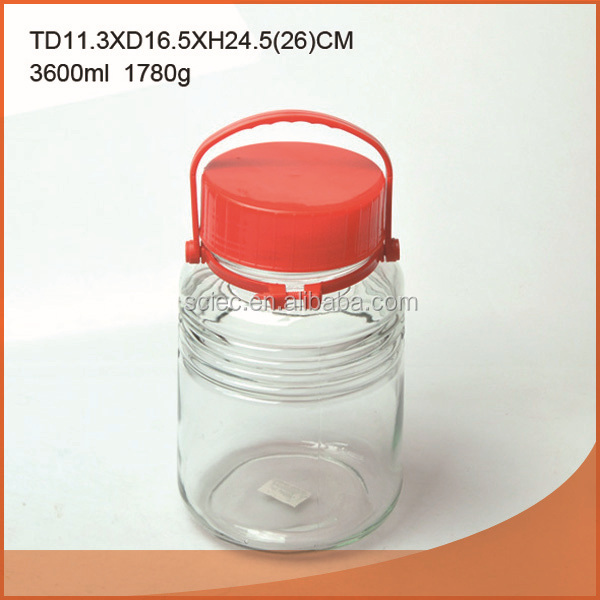 handle umeshu glass jar with plastic lid