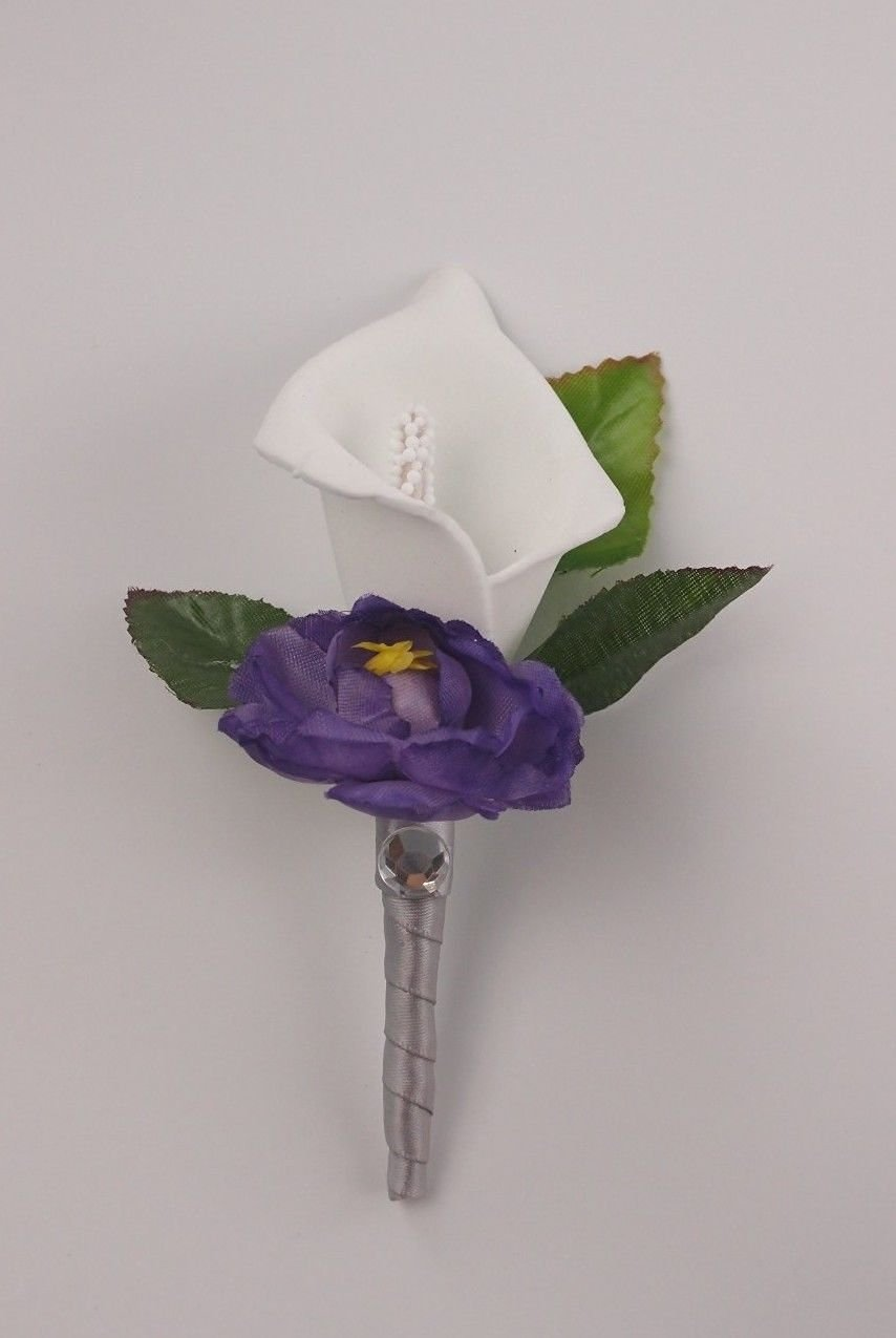 Cheap purple lily flower pictures find purple lily flower pictures get quotations white calla lily and purple flower boutonniere with silver ribbon izmirmasajfo