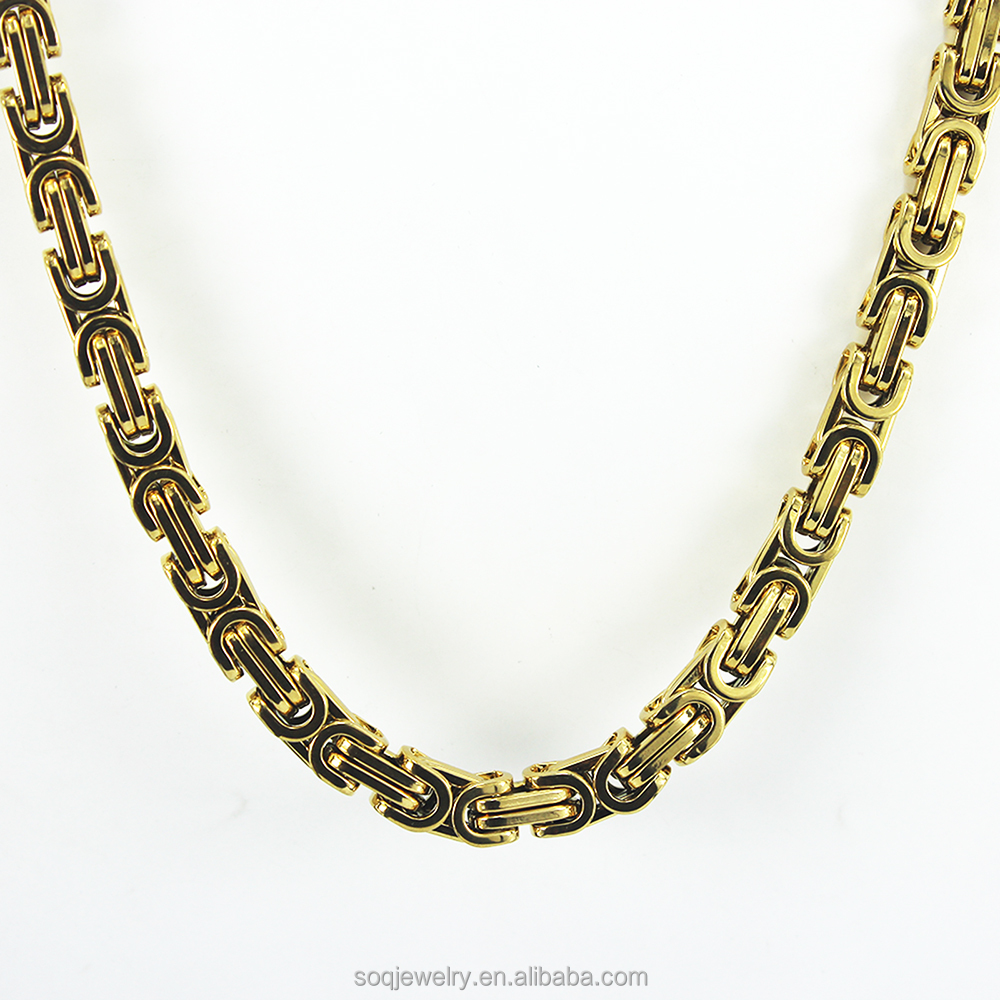 Hot Sales Mens Gold Plated 8MM Byzantine Necklace 24 inch fashion jewelry yiwu