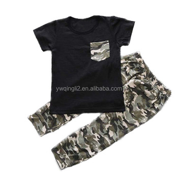 667486c56 WW-003 boy personalised toddler t shirts with pocket camouflage long pants  outfit for baby