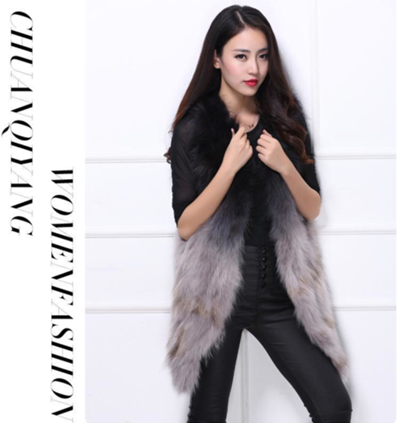 Europe Hot Selling Winter Real Raccoon Fur Vest Dyed Hand Knitted Fur Vest