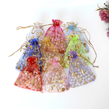 Wedding Party Christmas Favor Jewelry Pouches Sheer Drawstring Heart Organza Gift Bags