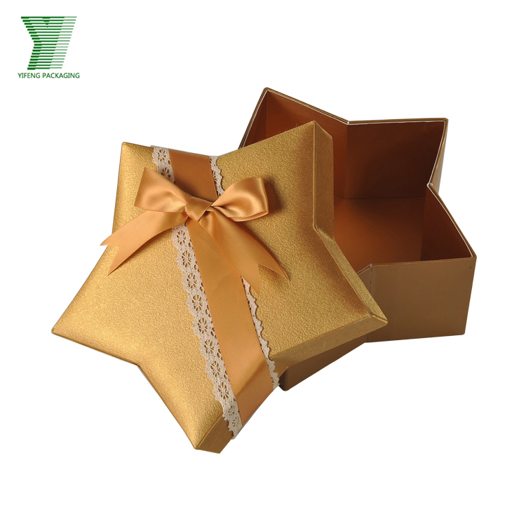 gold glitter star shape paper wedding souvenirs gift packing boxes with lace luxury