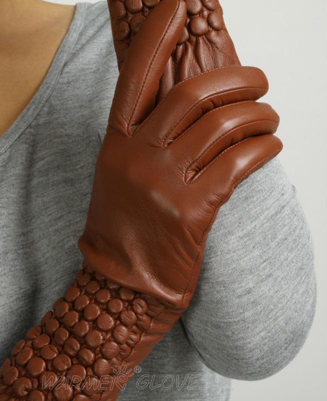 WARMEN Design Women Elbow Long Tip for Winter Fur Overcoat genuine Nappa Leather <strong>Gloves</strong>