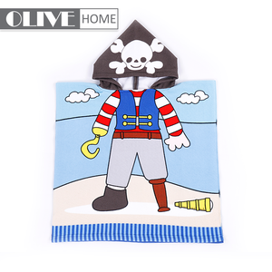 High quality OEM service kids printed microfiber poncho cartoon towel baby hooded beach towel