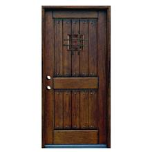 36 in. x 80 in. Rustic Mahogany Type Stained Distressed Solid Wood Speakeasy Prehung Front Door Wood Door