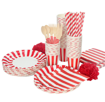 Disposable tableware set with paper straw paper cup for christmas decoration