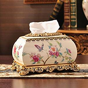 TIANMIN European-Style Luxury Ice Cracking Ceramic Tissue Box Pumping Carton High-End Living Room Home Pastoral Ornaments Tissue Paper Dispenser , 231715Cm