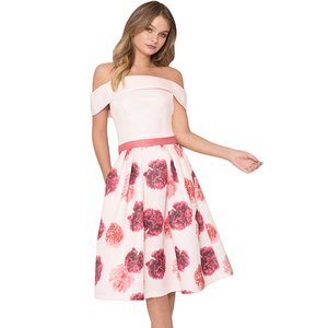 Sexy Evening Party Night Club Woman Fashion Casual Off Shoulder Floral Ladies Flared Dress Girls