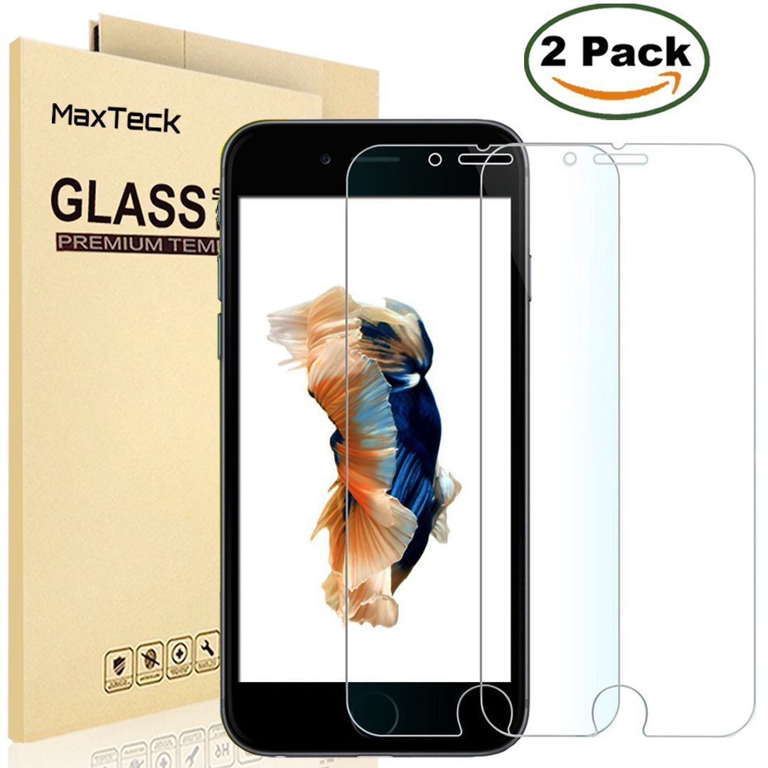"""[2 Pack] iPhone 6 6S Screen Protector, MaxTeck 0.26mm 9H Tempered Shatterproof Glass Screen Protector Anti-Shatter Film for iPhone 6 6S 4.7"""" inch [3D Touch Compatible] - Lifetime Warranty"""