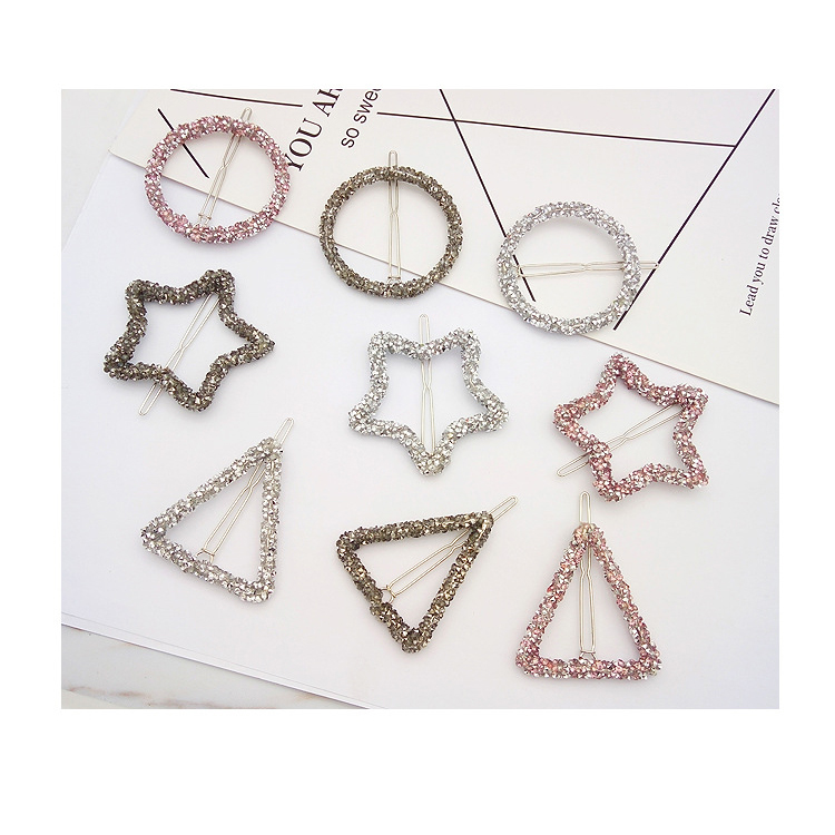 Metal Crystal Bridal Hairpins Star Triangle Rhinestone Letter Hair Clips for Fancy Girls
