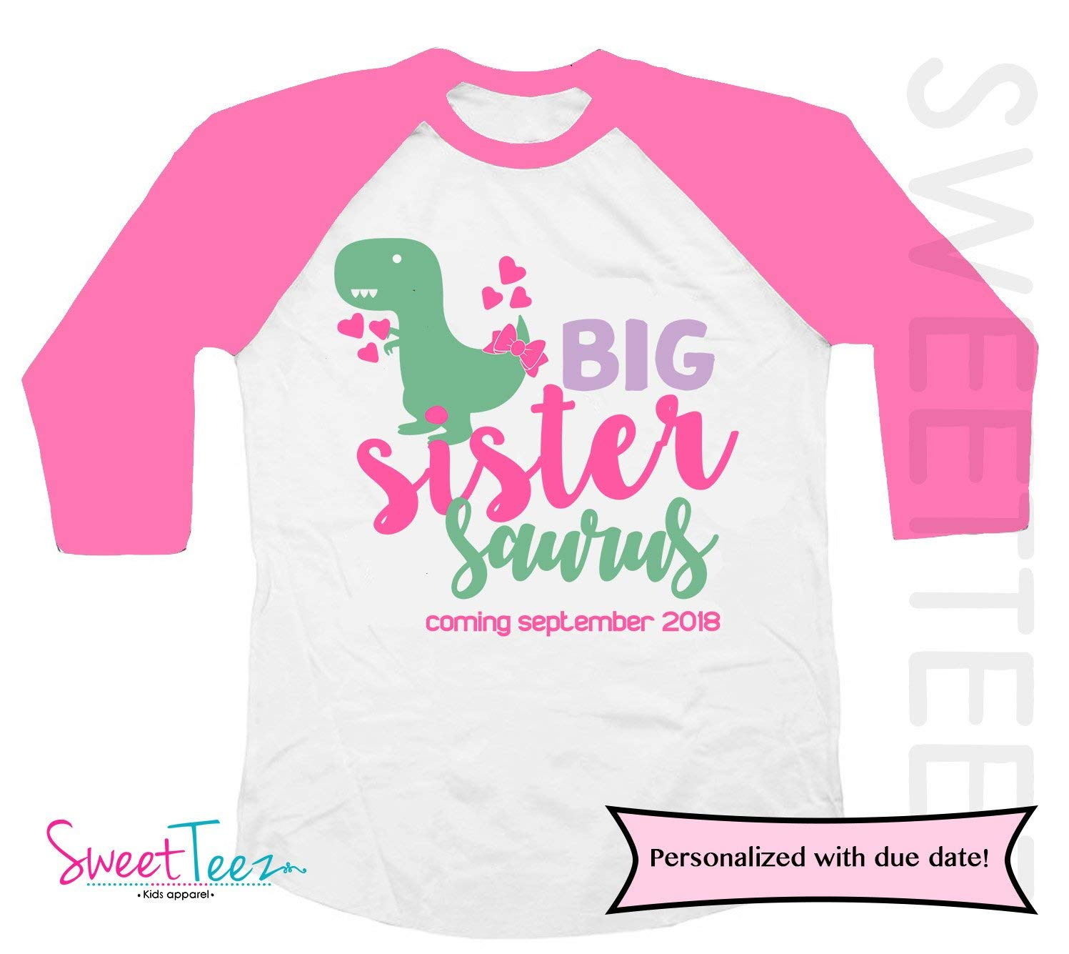 6f544ec4 Get Quotations · Personalized big sister Shirt for Girl Dinosaur Pink  Raglan Shirt Gift for Girl