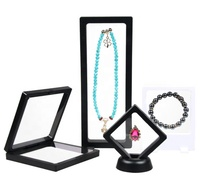 Wholesale 3D Floating Acrylic Suspension Box Transparent Jewelry Display Stand Set For Ring Bracelet Bangle Coin Packaging
