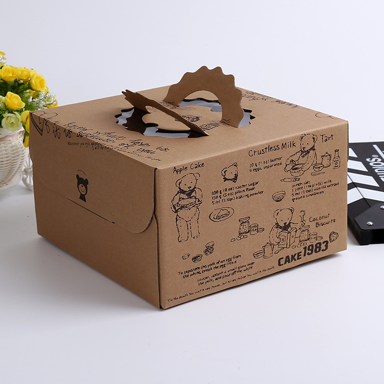 Hot salee 6 inch kraft paper cake box / transparent baking box / hand kraft paper West Point box