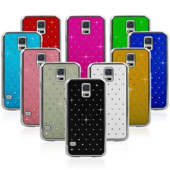 Protector Bling diamond leather front case For samsung galaxy s5 10 Colorful Hybrid Diamond Case for S5