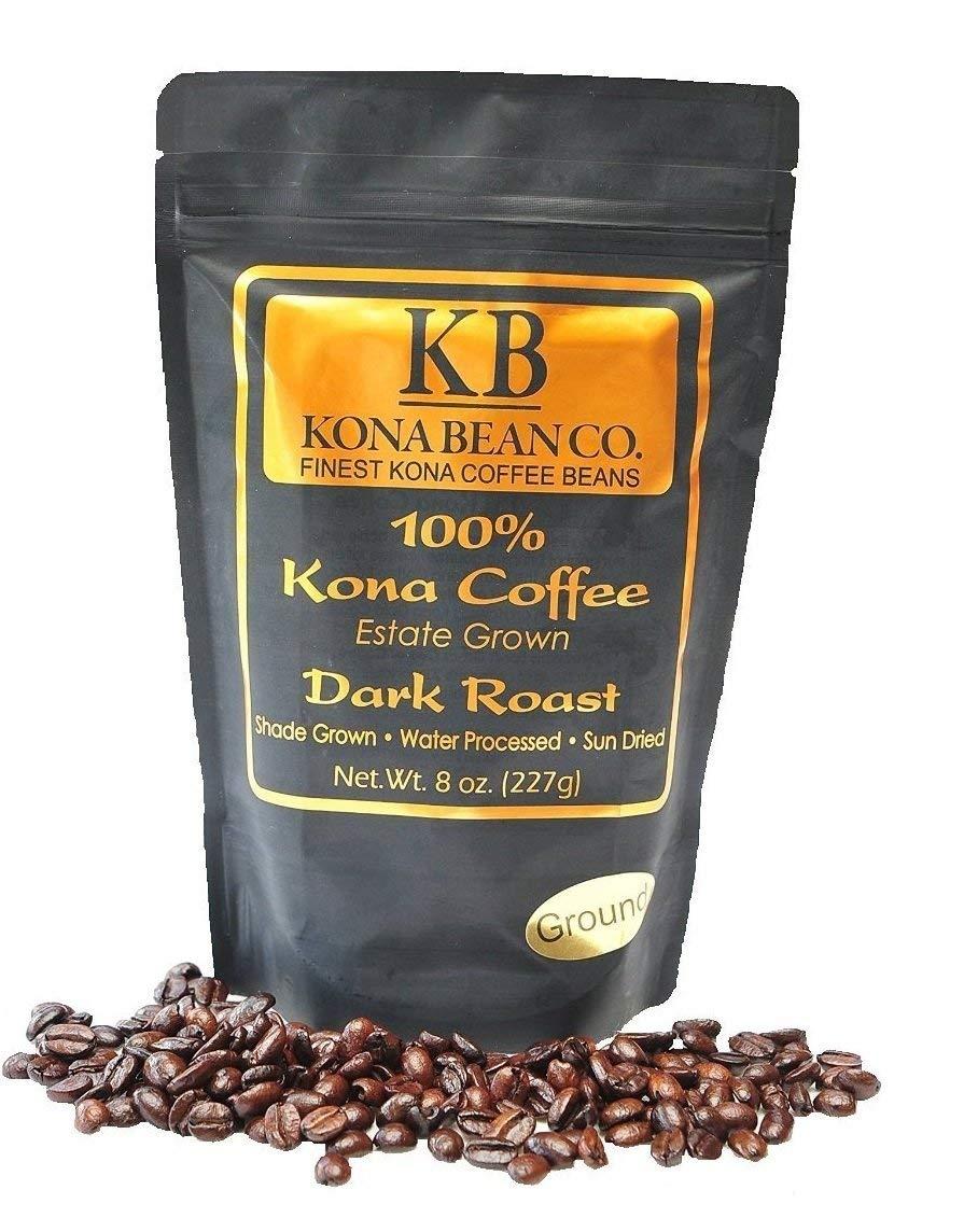 Kona Coffee Beans - 1 Pound Kona Bean Co. Extra Fancy Estate Grown 100% Kona Coffee - Hawaiian Kona Coffee - 1 LB Total (Dark Roast, Ground Coffee)