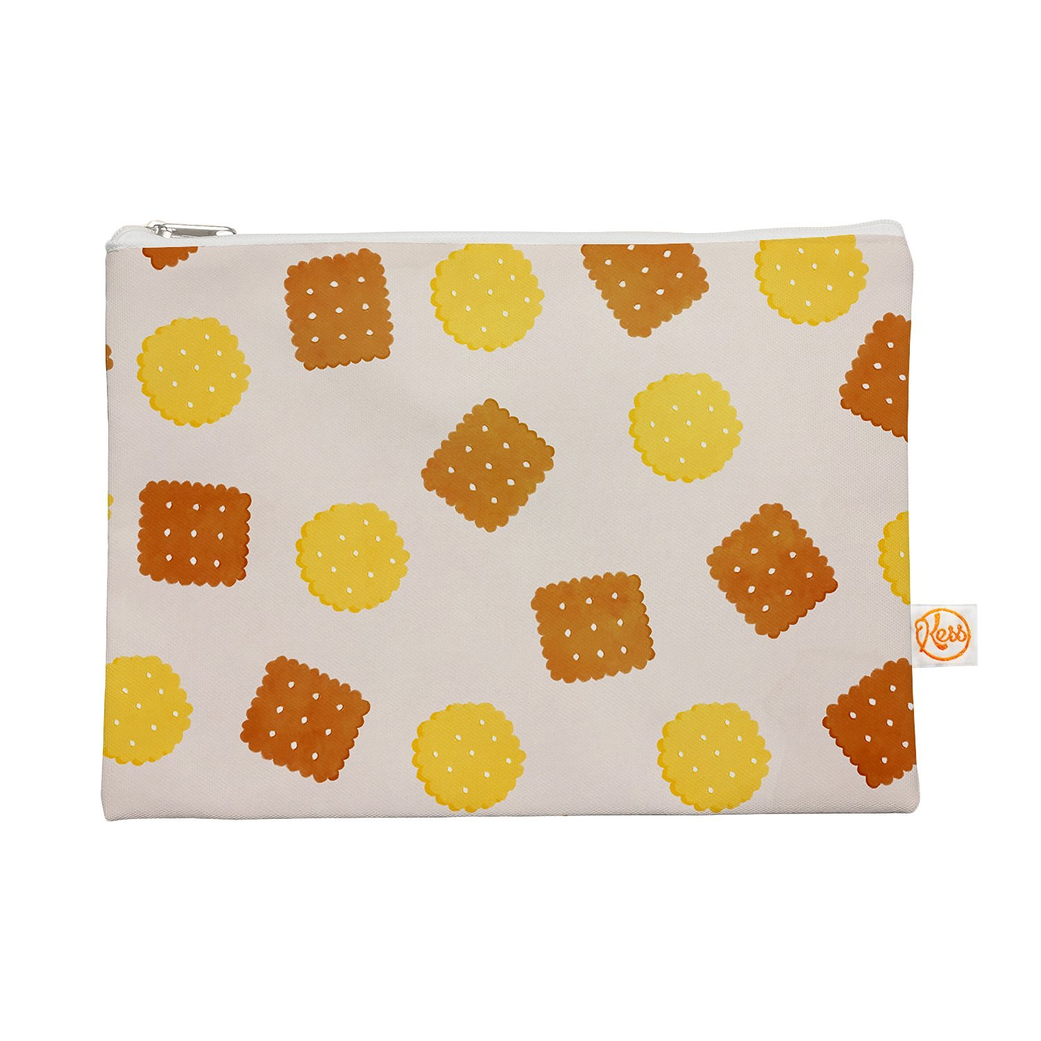 """Kess InHouse """"Do You Love Biscuits?"""" Everything Bag, 12.5"""" x 8.5"""", Brown Yellow (TT1007AEP02)"""