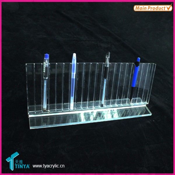 Shop Counter Plexiglas Pen Display Rack Holder, Makeup Børste Holder, 2 Tier 24 Slots Klar Akryl Pen Display Stand Wholesale