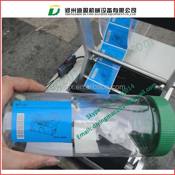 Mineral Water Bottle Labeling Machine Manual Round Adhesive Bottle