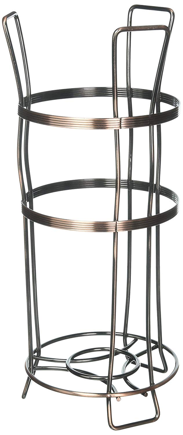 Richards Homewares Bronze Toilet Paper Holder Stand - Flat Wire Paper Reserve for Bathroom - Free Standing - Holds 3 Rolls - Rust Free Sturdy Metal