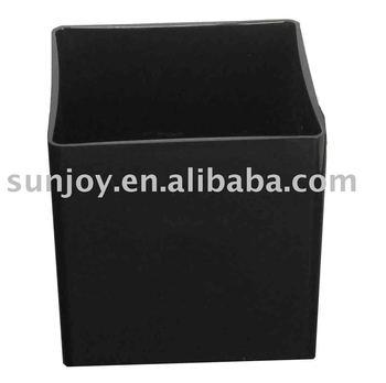 Black Cube Plastic Pot Vase Acrylic