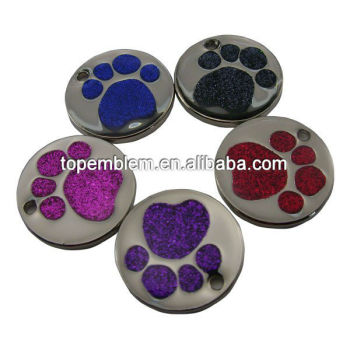Nickel Plated Pet Tag with Glitter Paw Insert