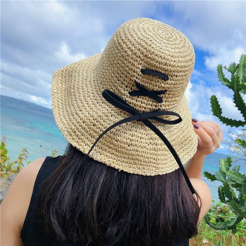 Модные женские летние соломенные шляпы ручной работы для отдыха для солнцезащитного козырька с бантом, пляжные складные шляпы <span style=