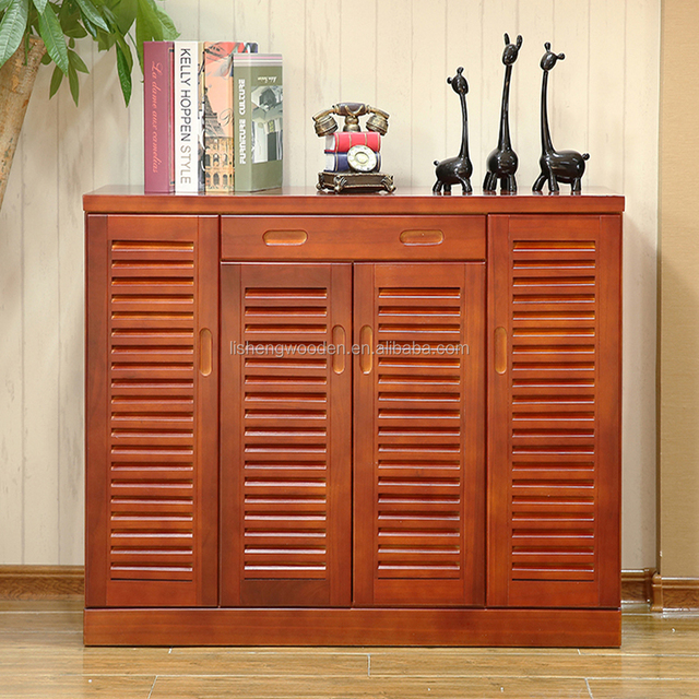 hot sale solid wood shutter door shoe rack shoe storage cabinet