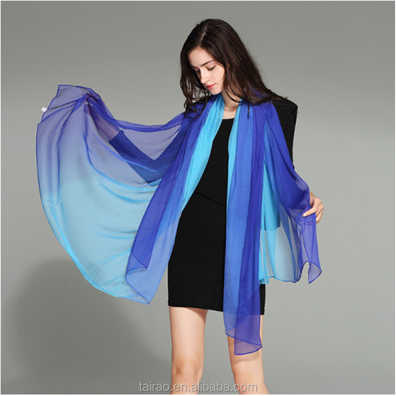 Transitional color matching toothpicks yarn silk scarves Joker shawl beach scarf