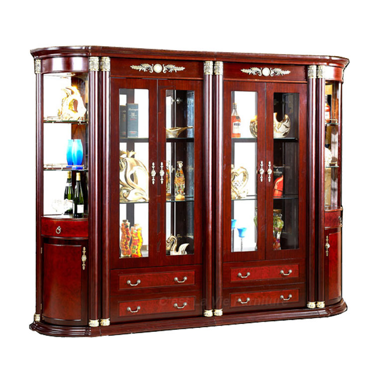 Luxury Design Large Size Free Standing Solid Teak Wood Glass Alcohol Wine Display Cabinet For ...