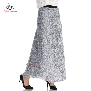 Latest Embroidery Design Silver Beach Long Skirt Picture Wholesale Fashion Bohemian Grey Sexy Chiffon Women Maxi Skirt