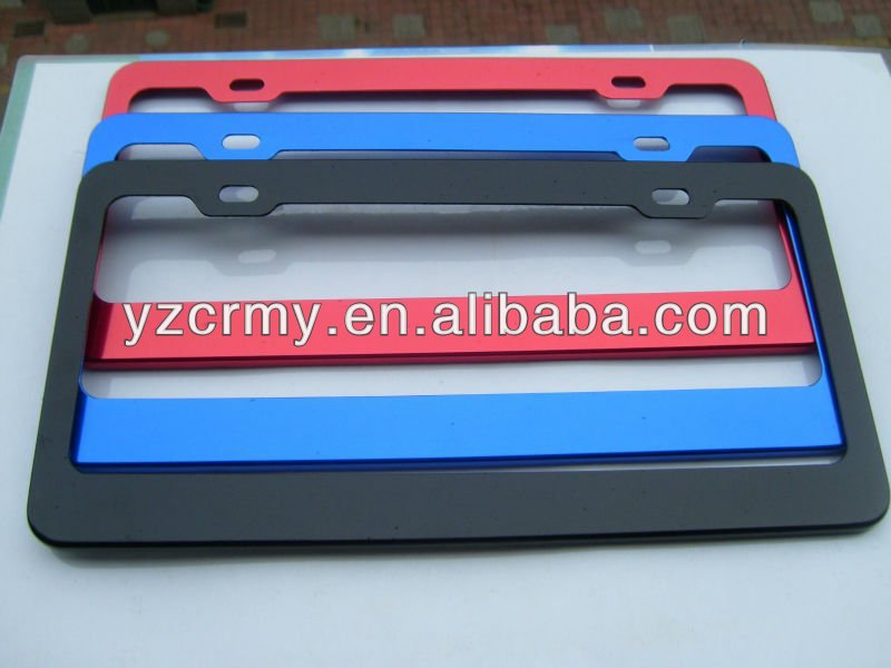 Anodized aluminum license plate frames