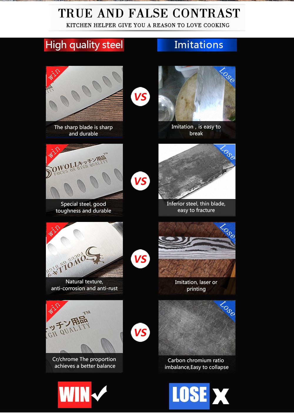 Sowoll Marke Japanisches Kochmesser Deutsch Stahl 7 zoll Santoku Messer Randform Schwarz ABS Griff Edelstahl Küchenmesser